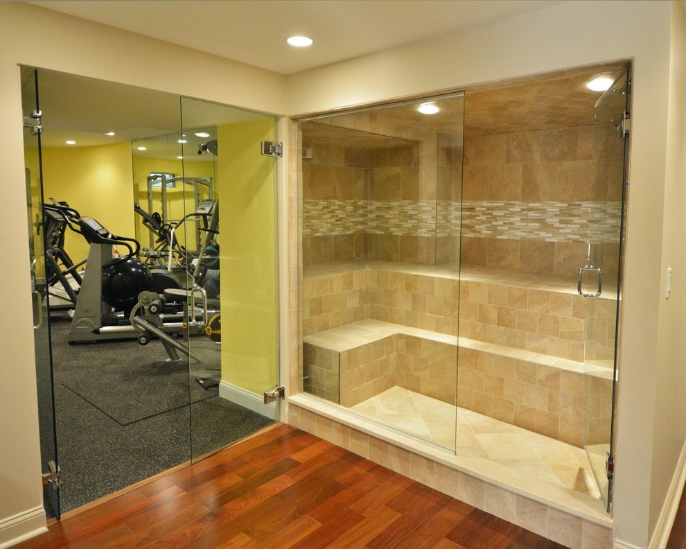 Gyms with a Sauna with Transitional Home Gym Also Basement Basement Remodel Glass Doors to Gym Glass Enclosure Gym Home Gym Sauna Spa Area Steam Room Tile Work Wayland
