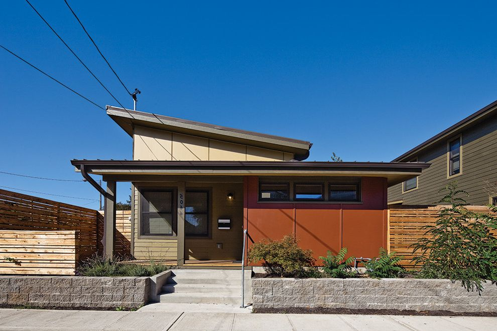 Habitat for Humanity Seattle with Contemporary Exterior Also Flat Roof Front Porch Raised Beds Stone Wall Wood Fencing