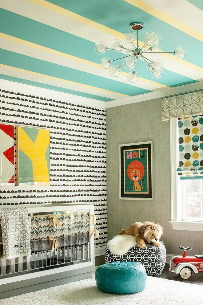Half Moon Bay Nursery   Contemporary Nursery Also Accent Wall Blue Pouf Boys Nursery Colorful Nursery Framed Art Fun Nursery Graphic Nursery Half Moon Wallpaper Mixed Patterns Striped Ceiling Striped Paint White Area Rug