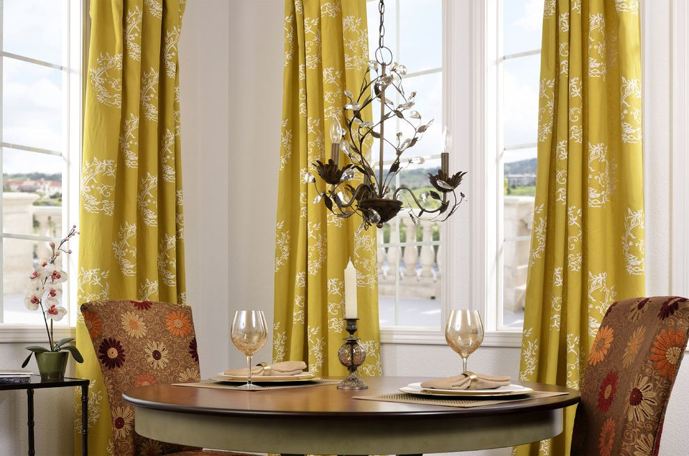 Half Priced Drapes   Contemporary Dining Room  and Chandelier Floral Dining Chairs Round Dining Table Upholstered Dining Chair Yellow Curtains
