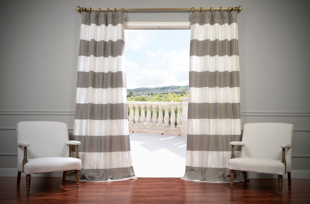 Half Priced Drapes   Contemporary Living Room Also Deck Gray and White Curtains Gray Walls Indoor Outdoor Striped Curtains Wainscoting White Armchairs
