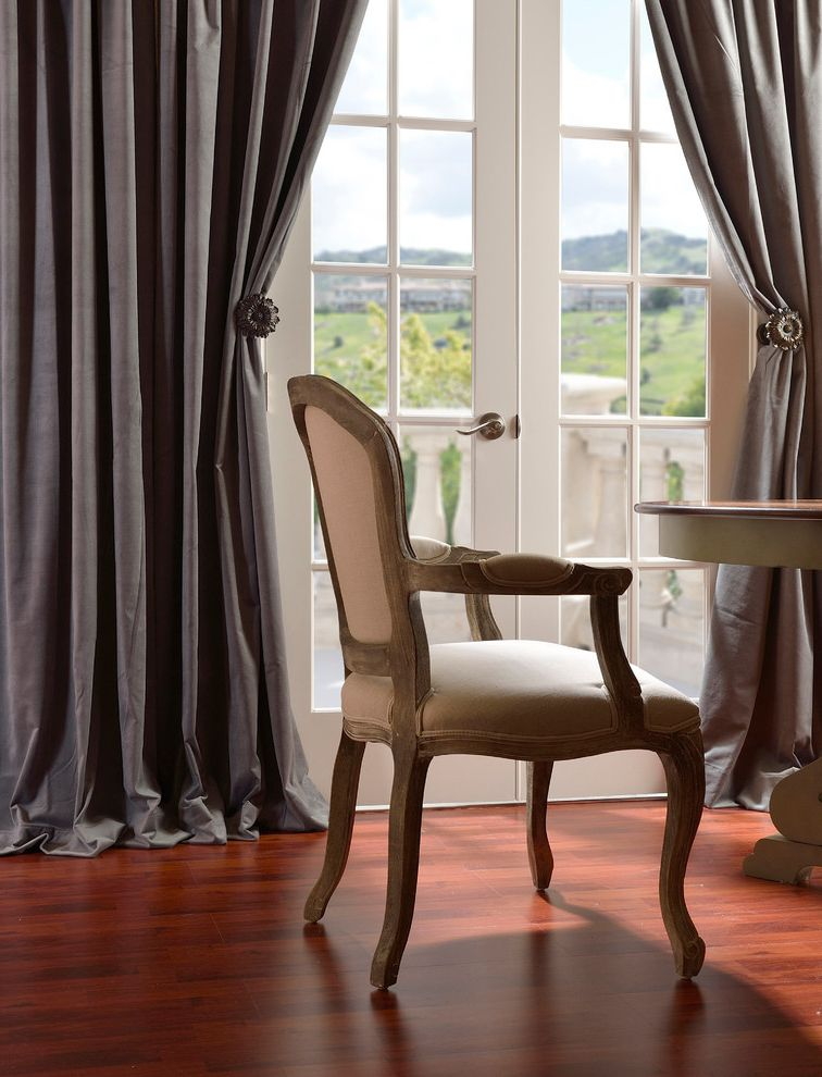 Half Priced Drapes   Traditional Dining Room Also Armchair French Doors Glass Doors Gray Curtains Wood Flooring