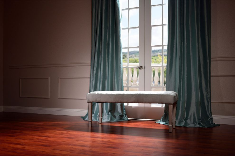 Half Priced Drapes   Traditional Living Room Also Blue Curtains Dark Wood Floor French Doors Gray Bench Gray Walls