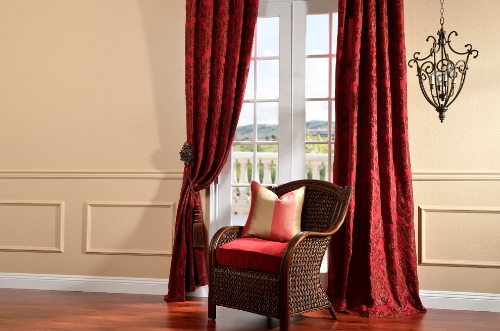 Half Priced Drapes   Traditional Living Room Also French Doors Rattan Chair Red Curtains Wainscoting Wicker Chair