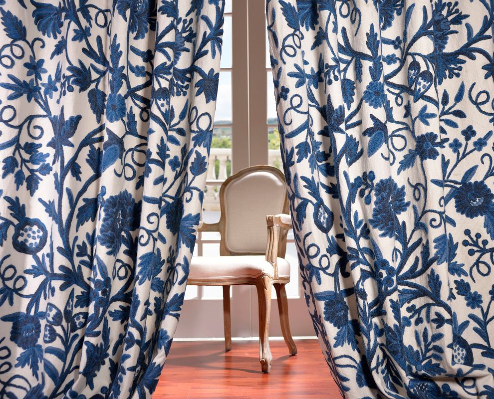 Half Priced Drapes   Traditional Living Room  and Armchair Blue and White Curtains French Doors Glass Doors Wood Flooring