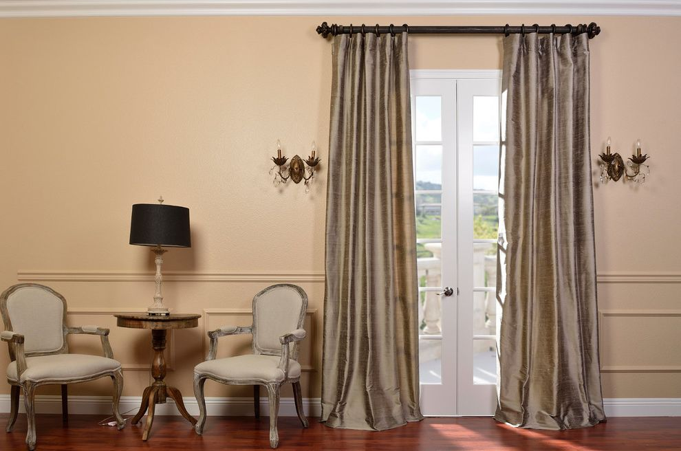 Half Priced Drapes   Traditional Living Room  and Armchairs Gray Curtains Pewter Curtains Round Side Table Wainscoting Wall Sconces