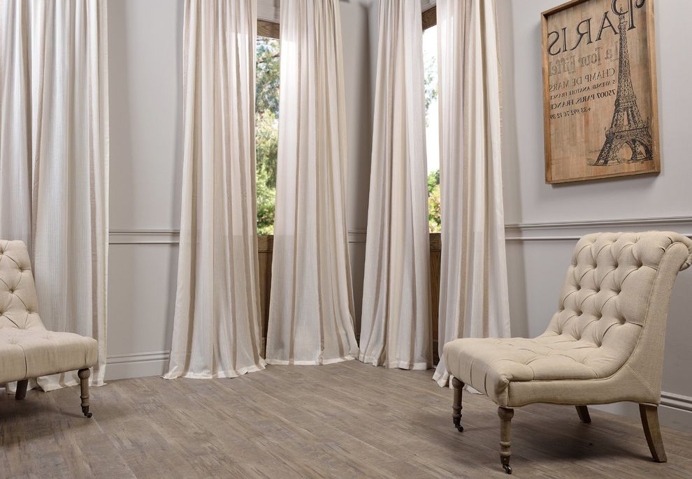 Half Priced Drapes   Traditional Living Room  and Beige Curtains Tufted Chair Wainscoting Wall Art