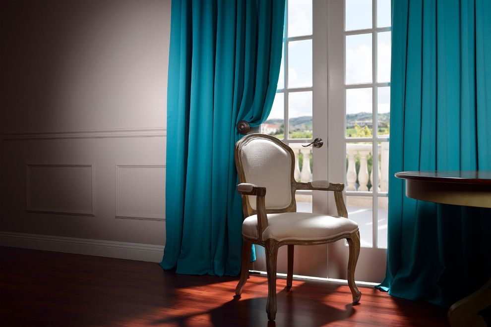 Half Priced Drapes   Traditional Living Room  and Blue Curtains Dark Wood Flooring French Doors Gray Walls Teal Curtains Wainscoting