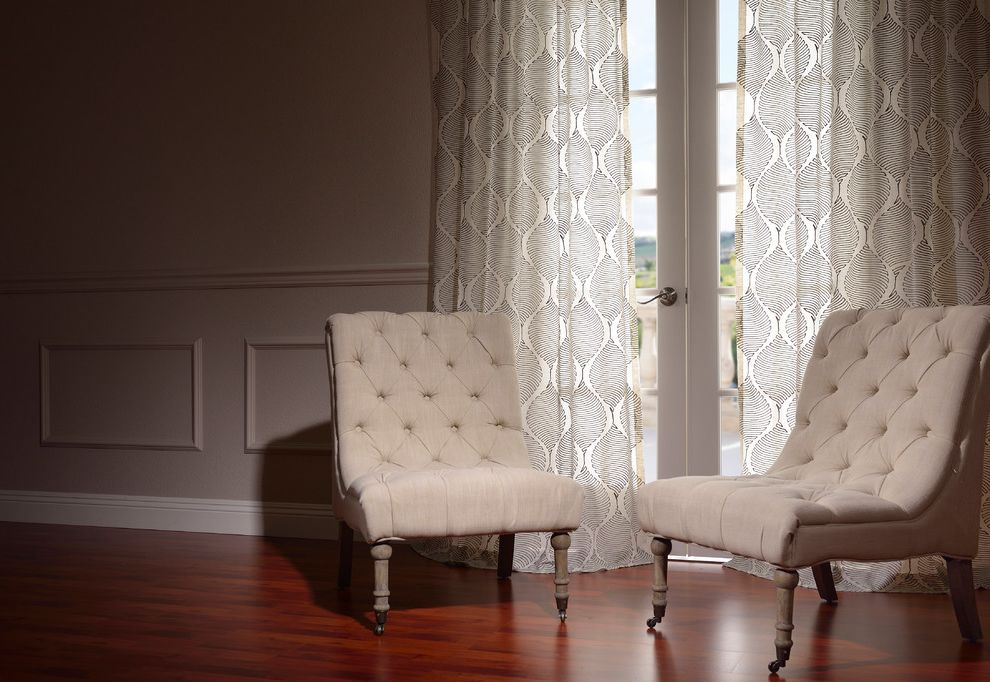 Half Priced Drapes   Traditional Living Room  and Dark Wood Flooring French Doors Glass Doors Patterned Curtains Tufted Chair Wainscoting