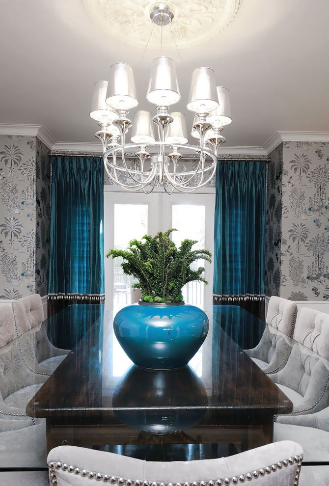 Half Priced Drapes   Transitional Dining Room  and Chandelier Chandelier Shades Curtains Drapes Glass Dining Table Nailhead Trim Upholstered Dining Chairs Wallcoverings Wallpaper White Wood Window Treatments Wood Trim