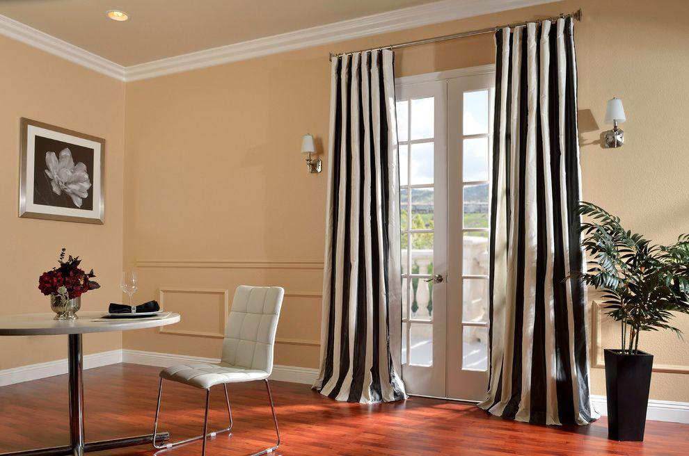 Half Priced Drapes with Contemporary Living Room  and Black and White Curtains French Doors Striped Curtains Wainscoting White Dining Chair