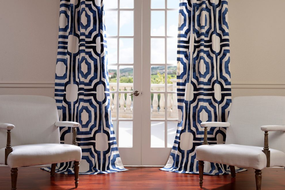Half Priced Drapes with Contemporary Living Room  and Blue and White Curtains French Doors Glass Doors Wainscoting White Armchairs Wood Floors