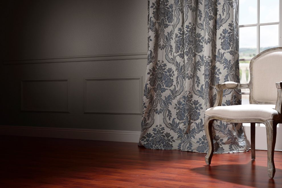 Half Priced Drapes with Traditional Living Room Also Armchair Damask Curtains Gray Curtains Gray Walls Wainscoting Wood Flooring