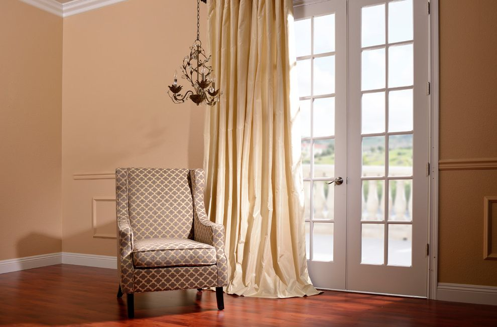 Half Priced Drapes with Traditional Living Room  and Beige Curtains French Doors Patterned Armchair Wainscoting Wood Floor