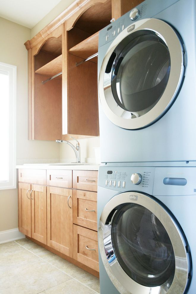 Hanging Bar for Clothes    Laundry Room  and Stackable Washer and Dryer Stacked Washer and Dryer