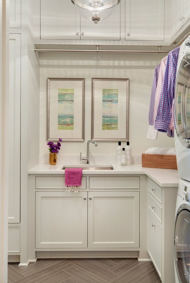 Hanging Bar for Clothes   Transitional Laundry Room Also Artwork Cabinetry Charlieco Glam Glamorous Gold Hangers Herringbone Tile Laundry Room Lucyinteriordesign Lucylovescolor Pink Purple Stainless Steel Sink Storage