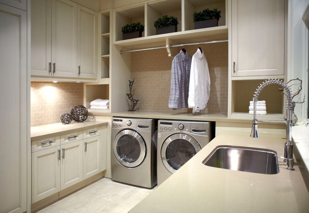 Hanging Bar for Clothes with Traditional Laundry Room Also Clothes Rack in Laundry Custom Cabinets with Stone Counter Top Laundry Room Appliances Laundry Room Sink Laundry Room Tile Laundry Shelving Tile Floor