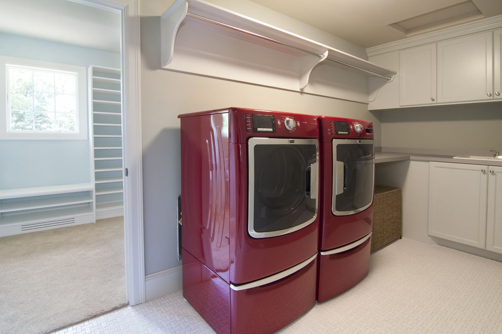 Hanging Bar for Clothes with Traditional Laundry Room Also Traditional