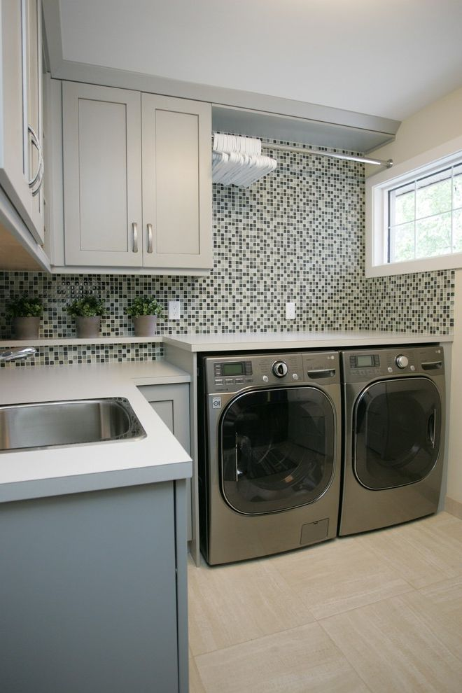 Hanging Bar for Clothes with Transitional Laundry Room  and Hanging Rod Mosaic Tile Wall White Counter Window
