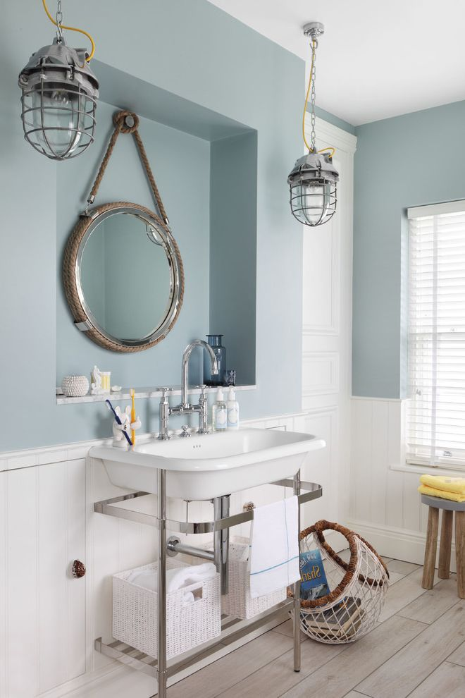 Hanging Heavy Mirror on Drywall Beach Style Bathroom and Blue ...