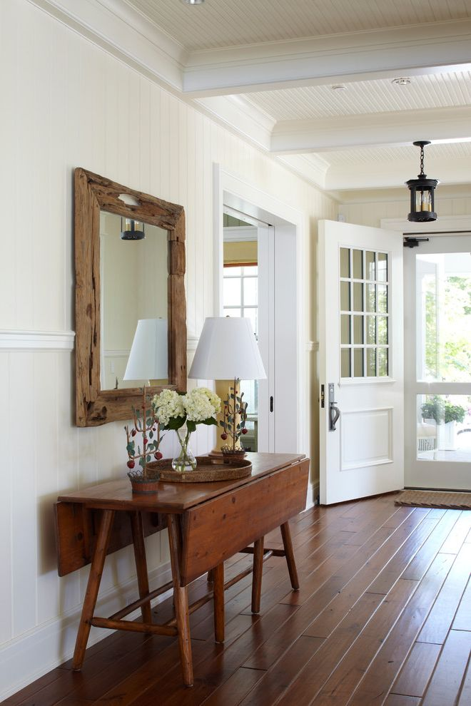 Hanging Heavy Mirror on Drywall Traditional Entry Also Beadboard ...
