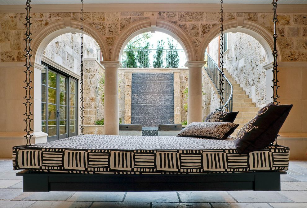 Hanging Lamps with Chain with Mediterranean Patio Also Arch Black and White Column Courtyard Fountain Hanging Daybed Loggia Slate Staircase Stone Tribal