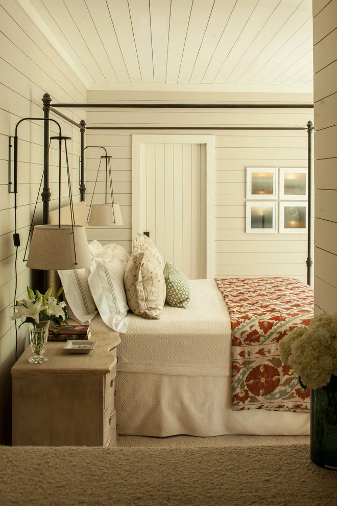 Hanging Lamps with Chain with Rustic Bedroom Also Bed Skirt Canopy Bed Carpeting Country Dresser Hanging Sconces Linen Master Bedroom Pillows Red Bedcover Tongue and Groove Wood Ceiling Wood Walls