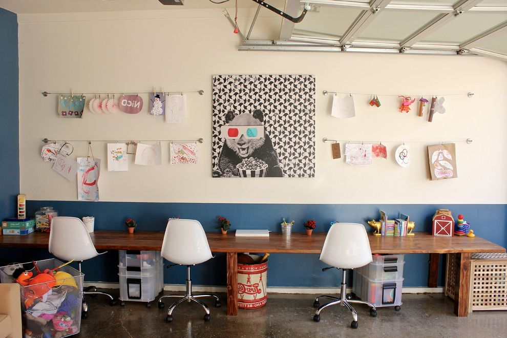 Hanging Photos on Wire   Contemporary Shed Also Art Work Displayed with Ikea Wires Pan Blue Painted Wainscot Casters Concrete Floor Desk Area Garage Kids Art Long Table Overhead Garage Door Panda Artwork Rolling Carts Wire Display