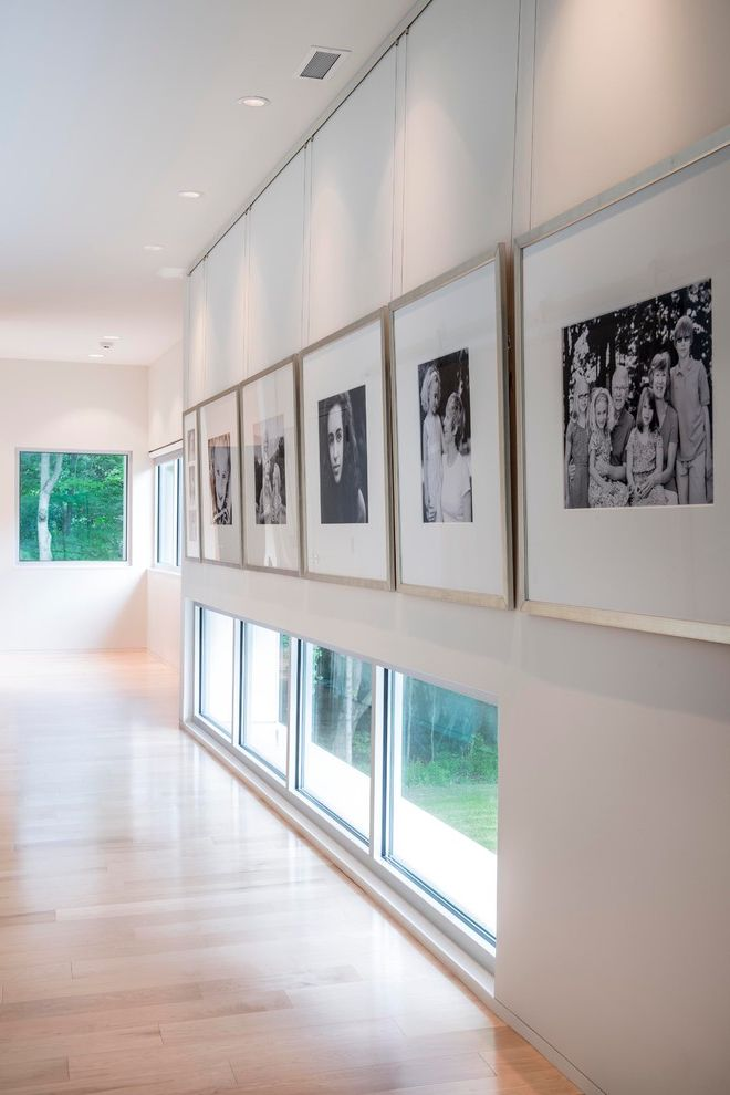 Hanging Photos on Wire with Modern Hall  and Art Gallery Beige Wall Display Floor Window Hanging Artwork Hanging Wall Art Light Shelf Photo Collage Photo Gallery Picture Hanging Rail Picture Window Recessed Lighting Window Wall Wood Floor