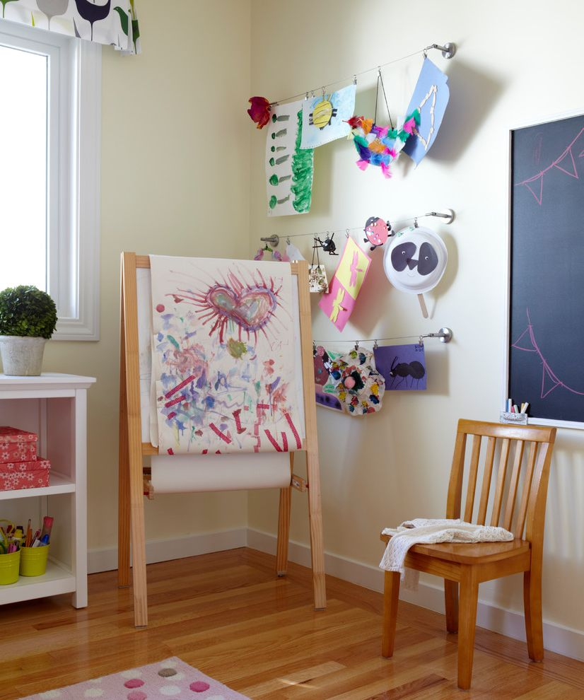 Hanging Photos on Wire with Transitional Kids Also Art Line Cable Line Chalkboard Child Childrens Room Easel Hanging Kids Artwork Hanging Line Kids Artwork Kids Easel Kids Wall Art Lilia Fulton Narrative Interiors Playroom Wood Kids Chair Yellow Wall