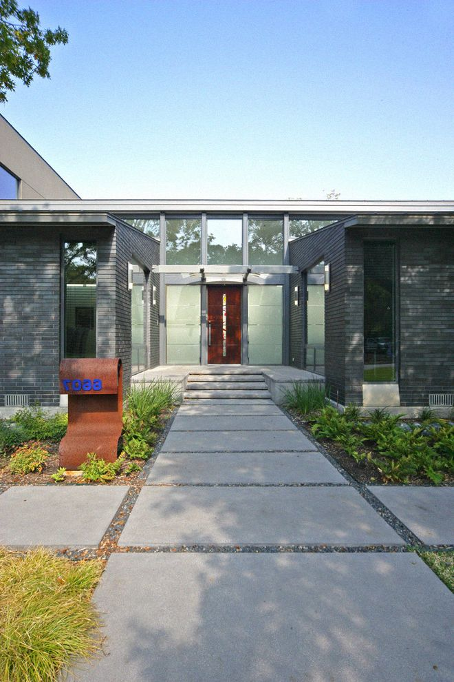 Hanover Pavers   Contemporary Entry  and Art Glass Cor Ten Corten Flat Roof Front Door House Numbers Modern Modern Mailbox Path Pavers Roof Line Sidelights Steel Trellis Walkway