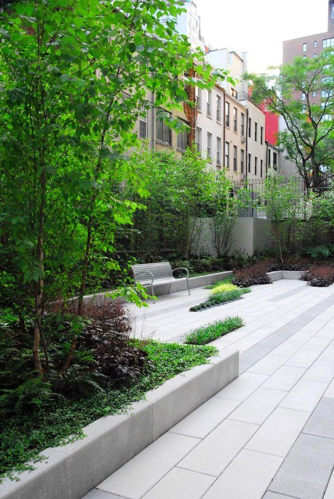 Hanover Pavers with Contemporary Patio  and Birch Garden Modern Patio Patio Bench Paving Precast Wall