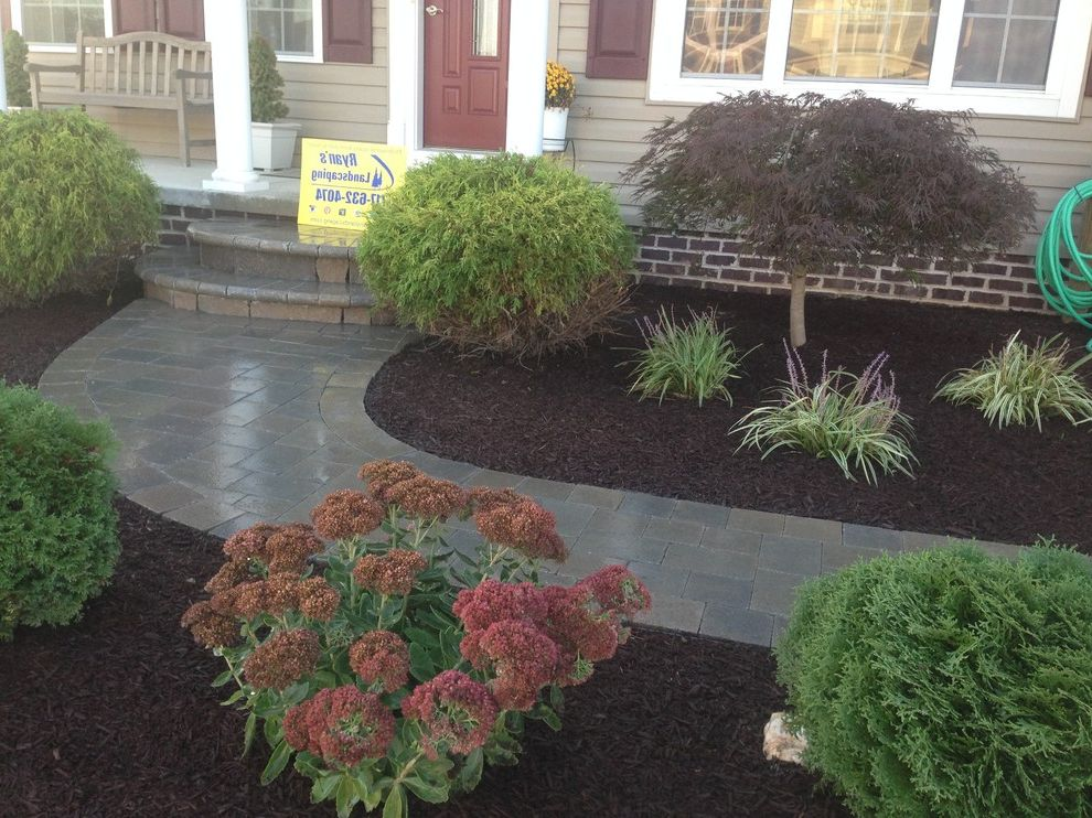 Hanover Pavers with Mediterranean Landscape  and Design Front Enterance Hanover Hardscape Home Improvment Investment Pavers Sidewalk Walkway