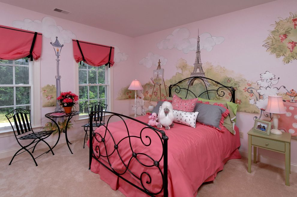 Hawaiian Themed Bedding with Traditional Kids  and Beige Carpet French Mural Green Night Stand Iron Bed Patio Table Pink Bedding Pink Flowers Pink Lampshades Pink Roman Shades