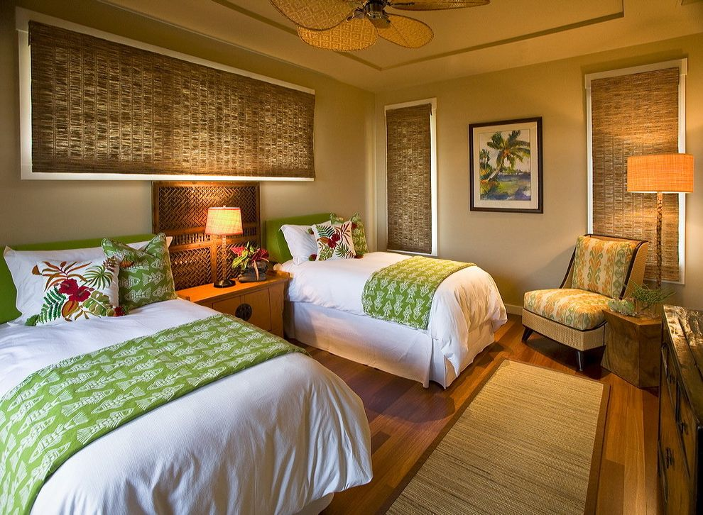 Hawaiian Themed Bedding with Tropical Bedroom Also Bed Skirts Beige Ceiling Fan Dresser Floor Lamp Lime Green Night Stand Table Lamp Tray Ceiling White Trim Tropical Print Twin Beds White Duvet Wood Floor Woven Blinds Woven Carpet Runner