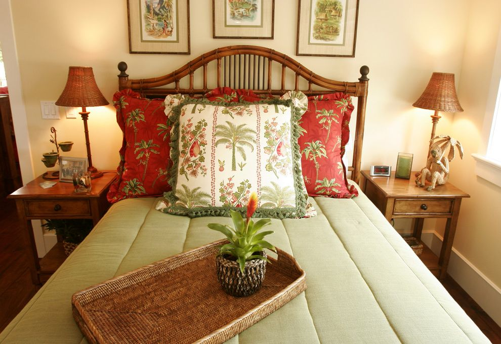 Hawaiian Themed Bedding with Tropical Bedroom  and Bamboo Basket Weave Bedside Table Island Night Stands Red Sage Tropical