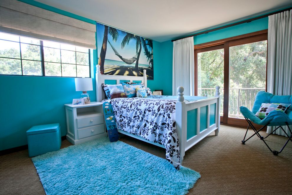 Hawaiian Themed Bedding with Tropical Kids  and Butterfly Chair Hawaiian Print Sliding Glass Doors Turquoise Rug Turquoise Walls White Bedroom Furniture Window Treatment
