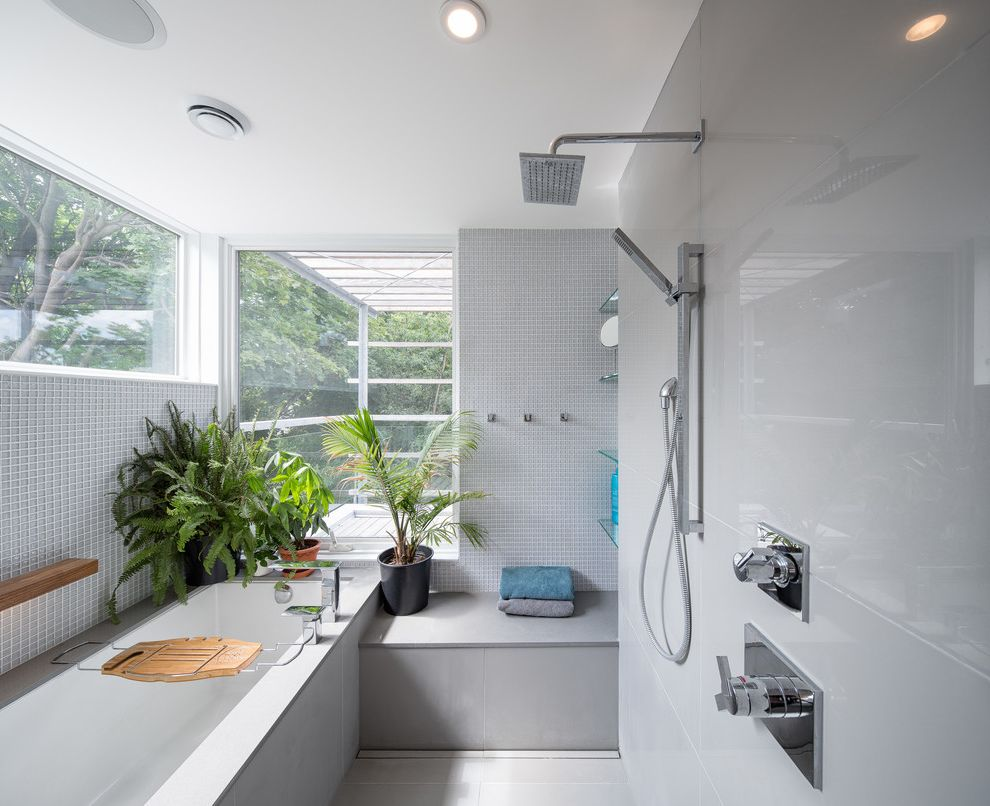 Head Start Fargo   Contemporary Bathroom  and Clean Glass Gohba Award Winner Green Green Home of the Year Infill Large Format Tile Leed Leed Platinum Minimal Rainshower Head Recessed Lighting Shower Bench Square Sustainable Urban