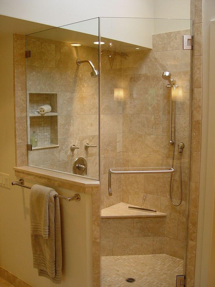 Head Start Fargo with Contemporary Bathroom Also Built Ins Ceiling Lighting Corner Shower Double Shower Heads Frameless Shower Modern Bath Fixtures Mosaic Tiles Neutral Colors Recessed Lighting Shower Bench Shower Shelves Towel Rack