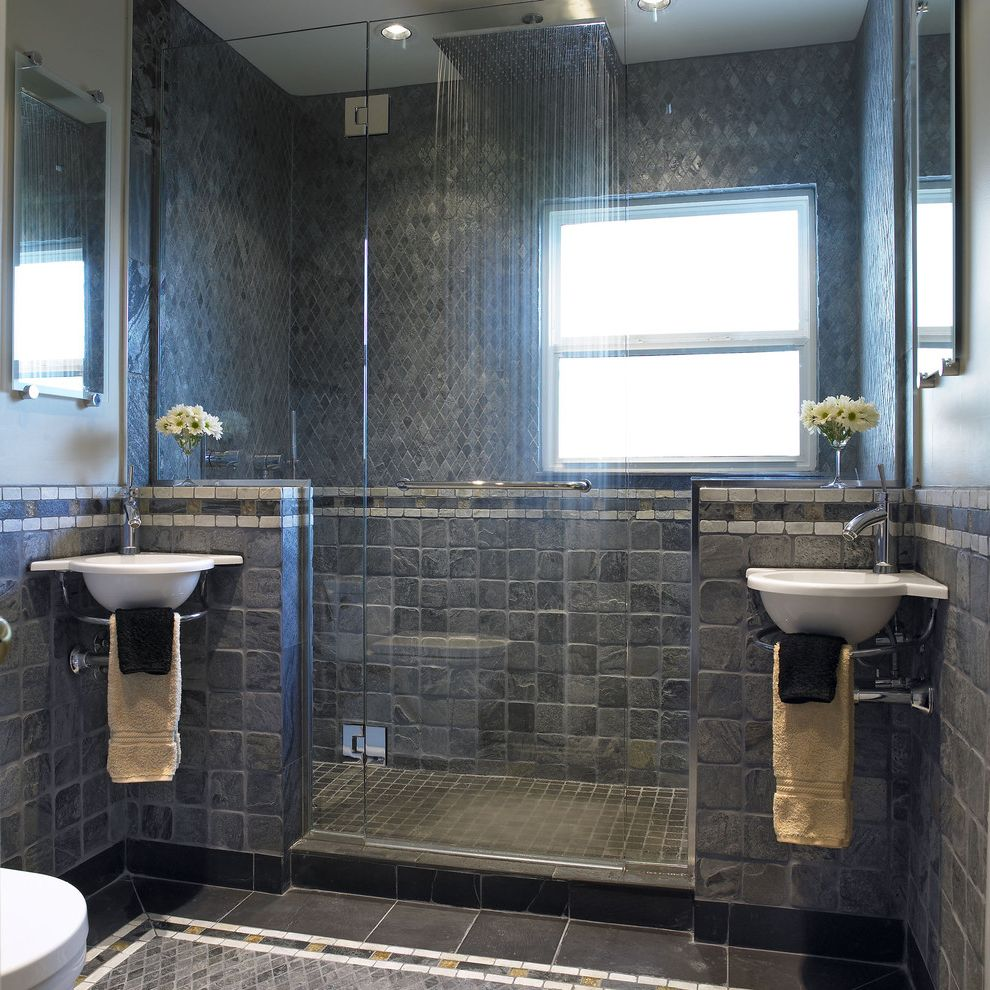 Head Start Fargo with Contemporary Bathroom  and Bathroom Mirror Double Sinks Floor Tile Frameless Shower Door Rain Shower Head Rain Showerhead Shower Tile Shower Window Stone Tile Wall Mount Sink Wall Mounted Sink