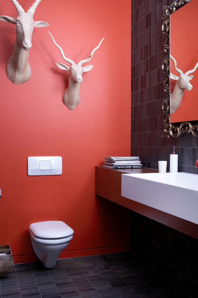Head Start Fargo with Contemporary Powder Room Also Antelope Head Art Custom Mirror Floating Vanity Mirror Red Paint Red Wall Slate Tile Wall Hung Toilet