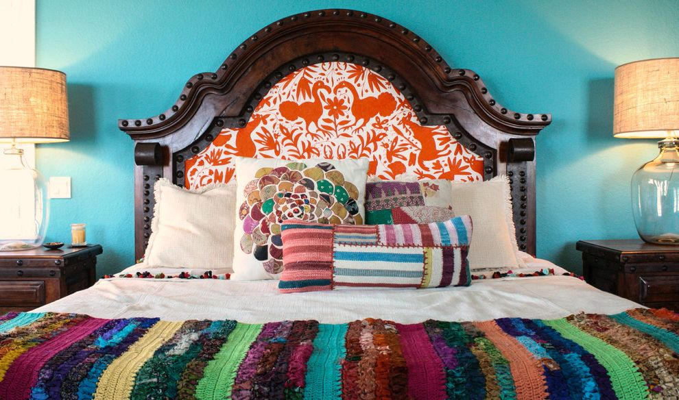 Head Start Fargo with Mediterranean Bedroom  and Accent Pillows Aqua Blue Wall Bedding Bold Patterns Colorful Crochet Dark Stained Wood Eclectic Glass Table Lamps Mexican My Houzz Nailhead Detail Nightstands Pillows Quilt Rivets Upholstered Headboard
