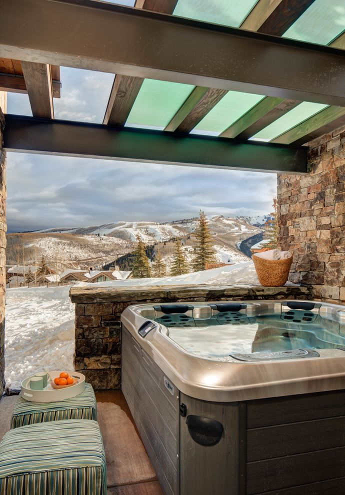 Healthmate Hot Tubs with Rustic Patio and Cabin Contemporary Corner Windows Glass Hot Tub Lodge Modern Mountain Rustic Ski House