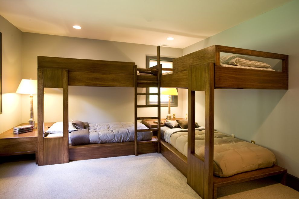 Heart Shaped Bed for Sale with Contemporary Bedroom Also Bunk Beds Carpeting Custom Woodwork Dark Stained Wood Duvets Recessed Lights Table Lamp Window