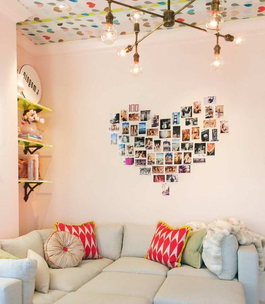 Heart Shaped Bed for Sale with Modern Family Room Also Bar Cart Bright Featured in San Franciscos Decorator Sh Fun Girls Room Hang Out Space Neon Sign Pink Removable Wallpaper Shag Carpet Sofa Pit Sofa Sectional Teenager