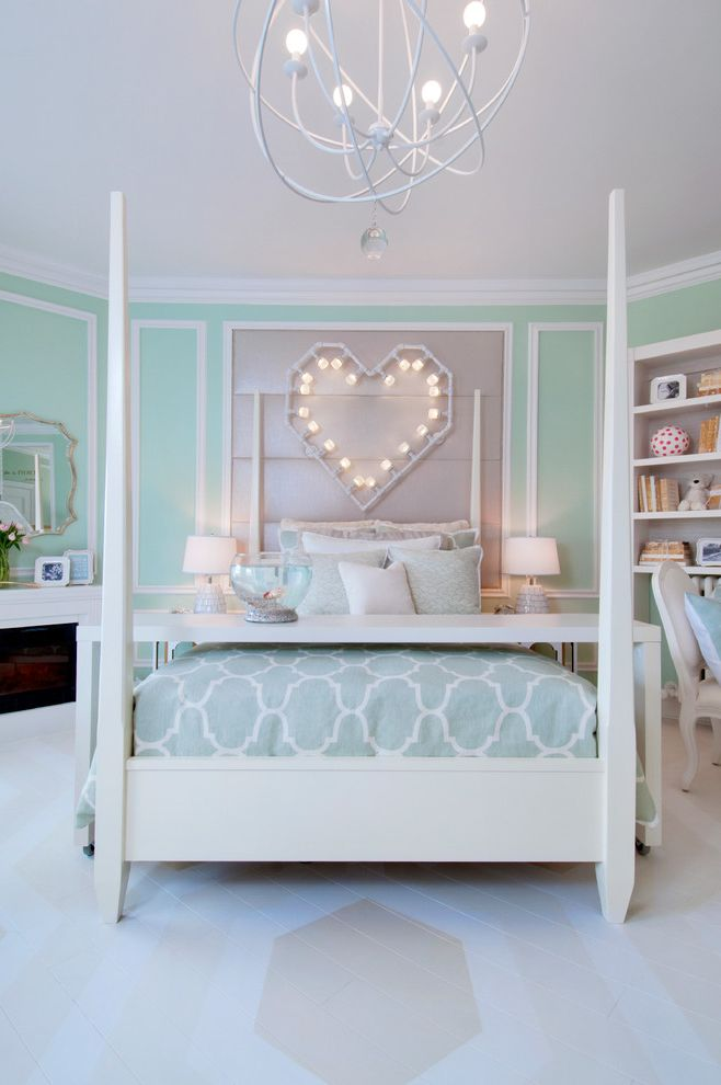 Heart Shaped Bed for Sale with Transitional Bedroom Also Bathroom Bedroom Crystal Waye Crystal Waye Photo Design Designer Showcase Geometric Floor Girls Room Heart on Fire Piedmont Showcase Pink Lacquer Seafoam Wall Paneling White Wainscoting