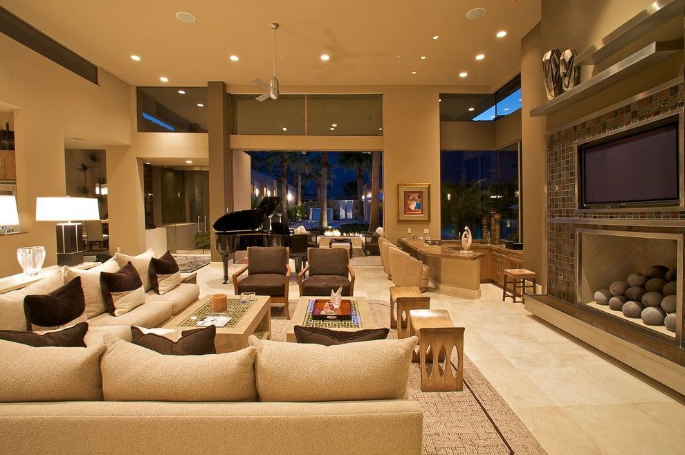Herculite Doors   Contemporary Living Room Also Casita Clerestory Windows Contemporary Fireplace Herculite Entry Doors High Ceilings Living Room Luxury Marble Residential Compound Sunken Bar