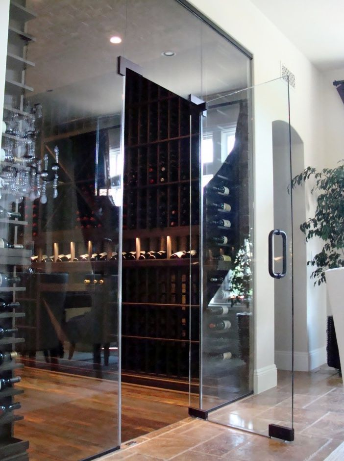 Herculite Doors with Contemporary Wine Cellar  and Custom Wine Cellar Door Custom Wine Cellar Door Orange County
