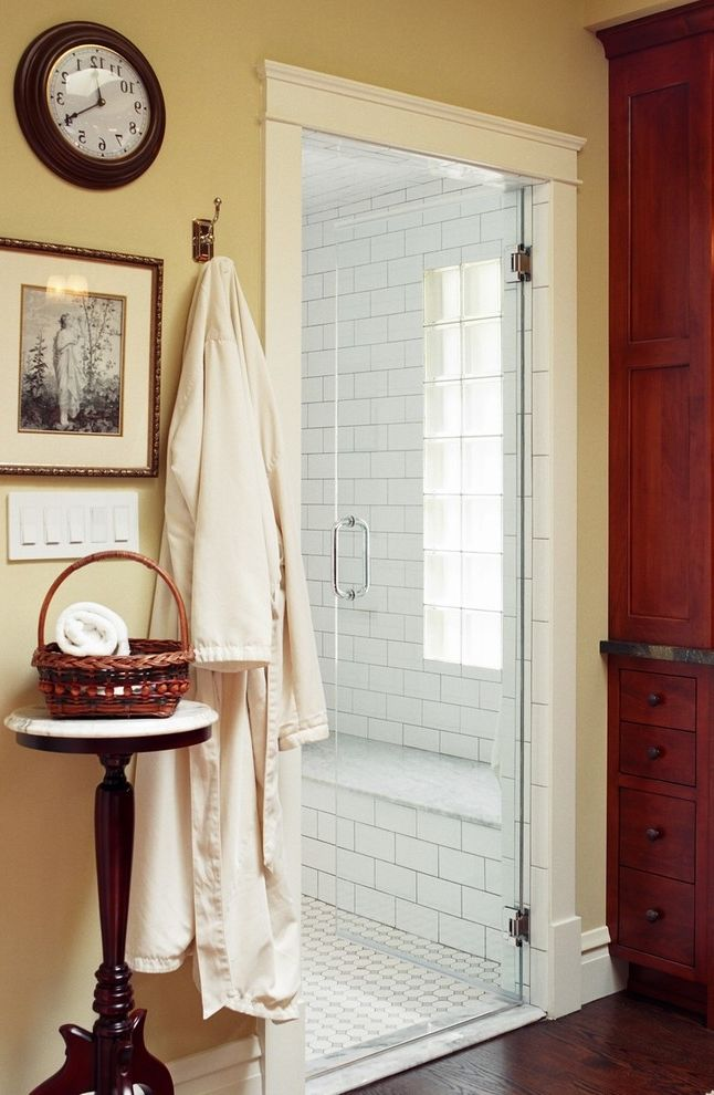 Hgtv Magazine Subscription   Eclectic Bathroom Also Alder Cabinets Bathroom Glass Blcok Hgtv I Want That Bath Master Bath Skylight Soaking Tub Steam Shower Subway Tile Vintage Salvaged Furniture Wood Floor