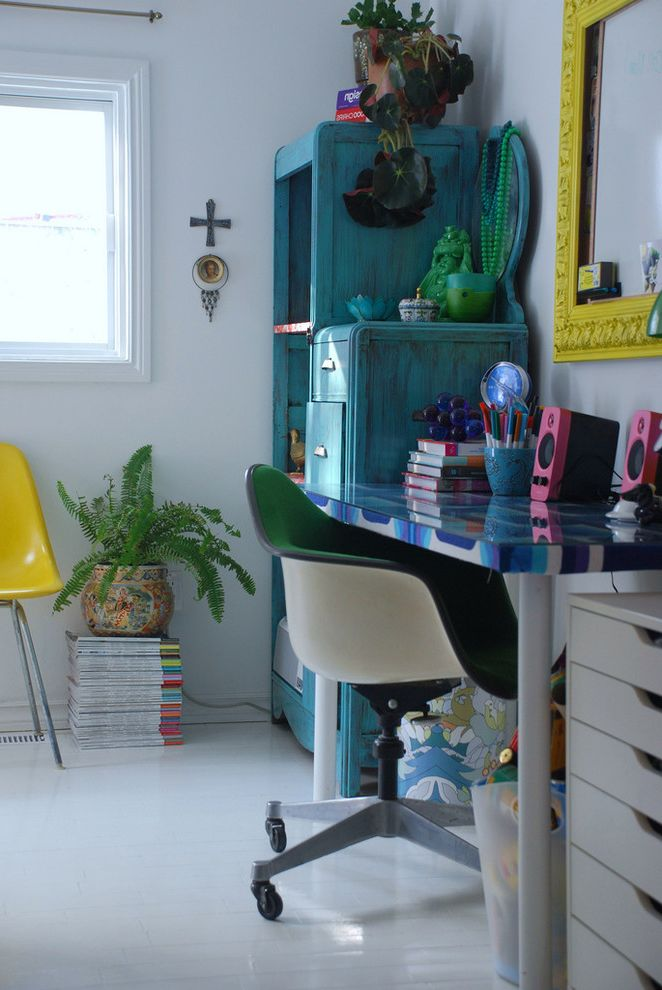 Hgtv Magazine Subscription with Eclectic Home Office Also Blue Desk Drawers Green Painted Floor Pink Stacked Magazines Vintage Pieces White Casing White Walls Yellow Yellow Accents